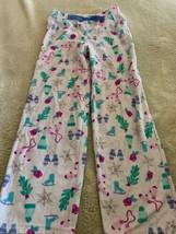 Carters Girls White Teal Ice Skates Mittens Snowflakes Fleece Pajama Pan... - $5.48
