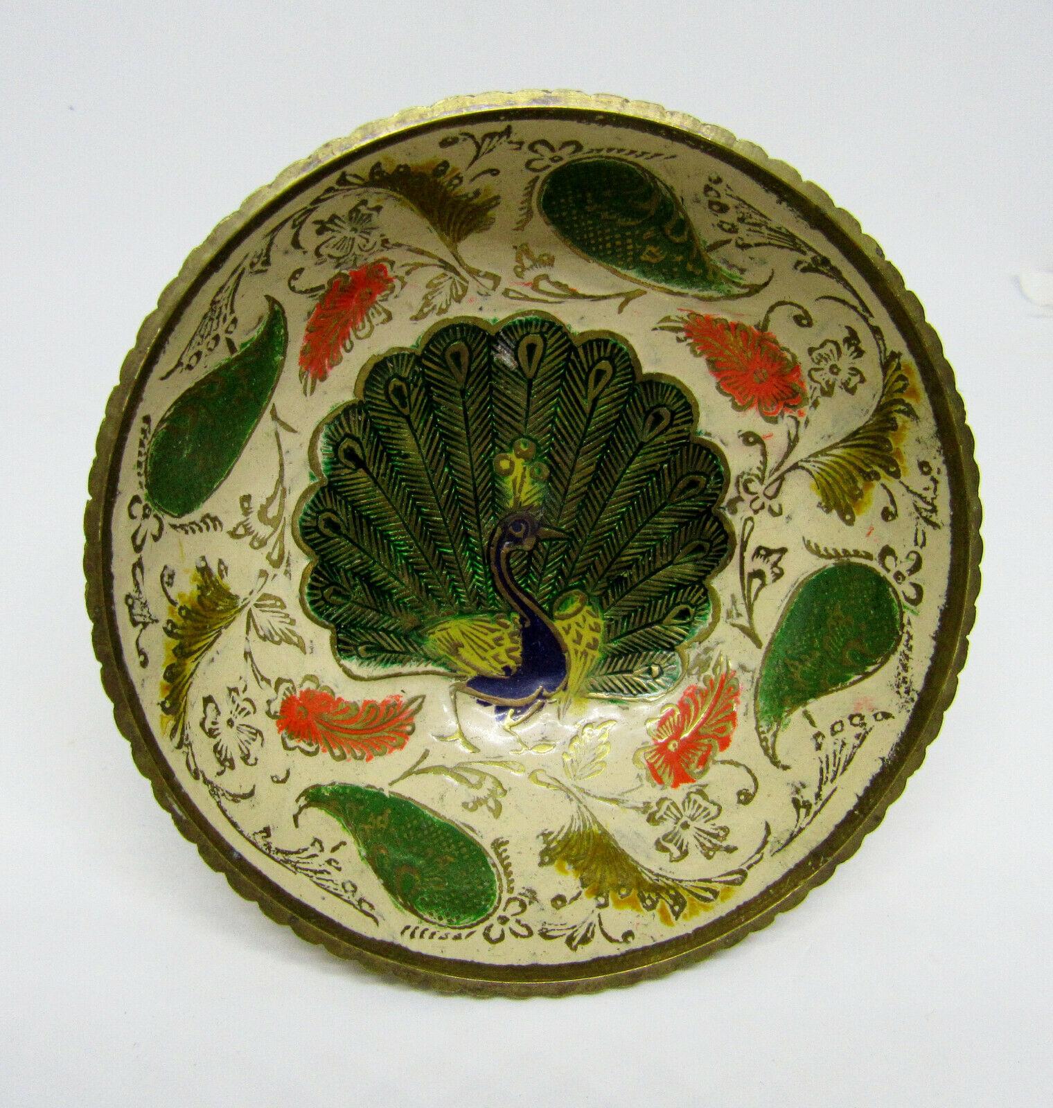 Vintage Brass Ornate Peacock Enameled Bowl on Pedestal image 4