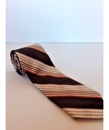 Retro men's tie Grodins California by Damon brown/rust/tan classic strip... - $7.69