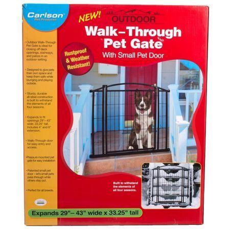 Carlson weatherproof outdoor walk thru gate with pet door
