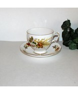 QUEEN ANNE BONE CHINA FOOTED CUP & SAUCER 8219 FALL FOLIAGE LEAVES FERNS ENGLAND - $12.97