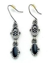 Vintage Black Onyx Inlay Silver Filigree Dangle Earrings - $13.86