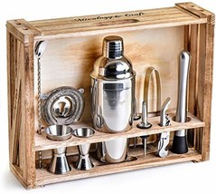 Mixology Bartender Kit: 11-Piece Bar Tool Set with Rustic Wood Stand - P... - $67.53