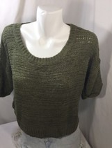 Mossimo Women Blouse Knitted Regular Fit Dark Green Scoop Neck elbow Sleeves M - $14.01