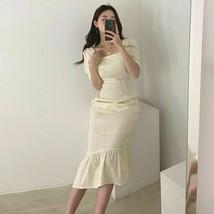 Square Collar Short Sleeve Thin High Waist Mid-Calf Japan Style Dress Fo... - €34,86 EUR