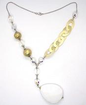Collar Plata 925 , Amarillo, Gota Ágata Blanca Grande, Óvalos Satinato image 2