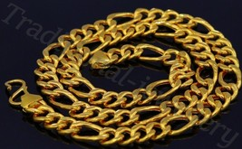 "20"" GORGEOUS FIGARO CHAIN 22K 22CT YELLOW GOLD UNISEX NECKLACE GIFTING J... - $3,019.49"