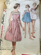 Simplicity 1553 Misses' Vintage Nightgown in Two  Lengths & Panties Size 16 - $9.99