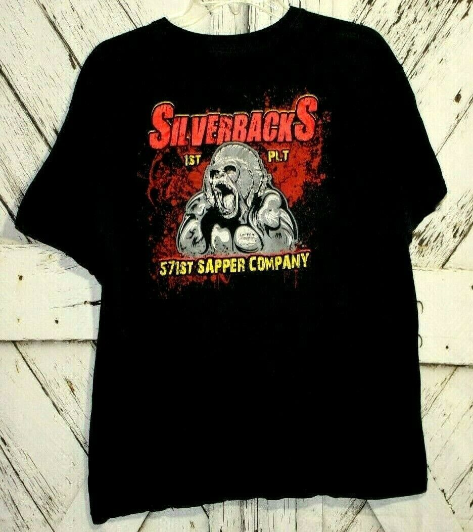 Primary image for US Army 571st Silverbacks 1st Platoon Sapper Company Black Graphic Shirt Size L