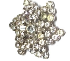 Vintage 1950s Rhinestone Large Brooch Prong Set and Silver Tone Baguette... - $36.00