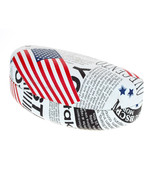 Sunglasses & Glasses Protective Case USA Flag News Letter Print Oval Har... - $9.95