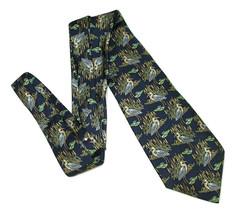Pura Seta Silk Tie Patterned Bird Egret Blue Made In Italy - $9.89