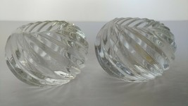 PARTYLITE ILLUSIONS SWIRL GLASS VOTIVE PAIR OF CANDLE HOLDERS - $12.00