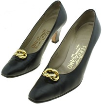Salvatore Ferragamo Lillaz Women's Black Pump Heels Size Extra Narrow 7AAA - $46.36
