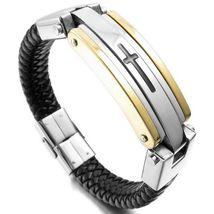 Men's Stainless Steel Leather Bracelet Braided Cross Wrist Bangle Gold - $31.50