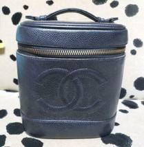 Auth CHANEL Vanity Vintage Black Caviar Skin Logo Zipper Mini Pouch B3461 - $670.23