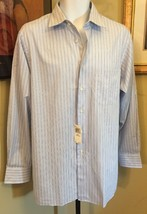 JOE Joseph Abboud Blue Pinstripe Long Sleeve Shirt  New W Tags size 16 3... - $11.55 CAD