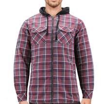 Tony Hawk Men's Casual Flannel Zip Up Plaid Sherpa Hoodie Lightweight Jacket image 2