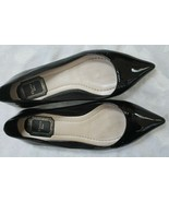Christian Dior Black Patent Leather Flats Size 37 Pointy Ballet Shoes - $148.50