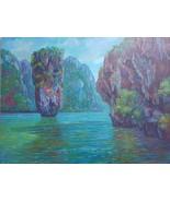 Original drawing Acrylic paint on canvas Ao Phang Nga National Park, Khao Tapu - $423.00