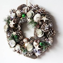 "D14.5"" Home Door Wreaths Navidad Christmas Decoration Lights Pinecone Wr... - ₨2,419.27 INR+"