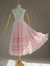 Pink Tiered Tulle Midi Skirt Pink Princess Tulle Tutu Midi Skirt Outfit Wedding