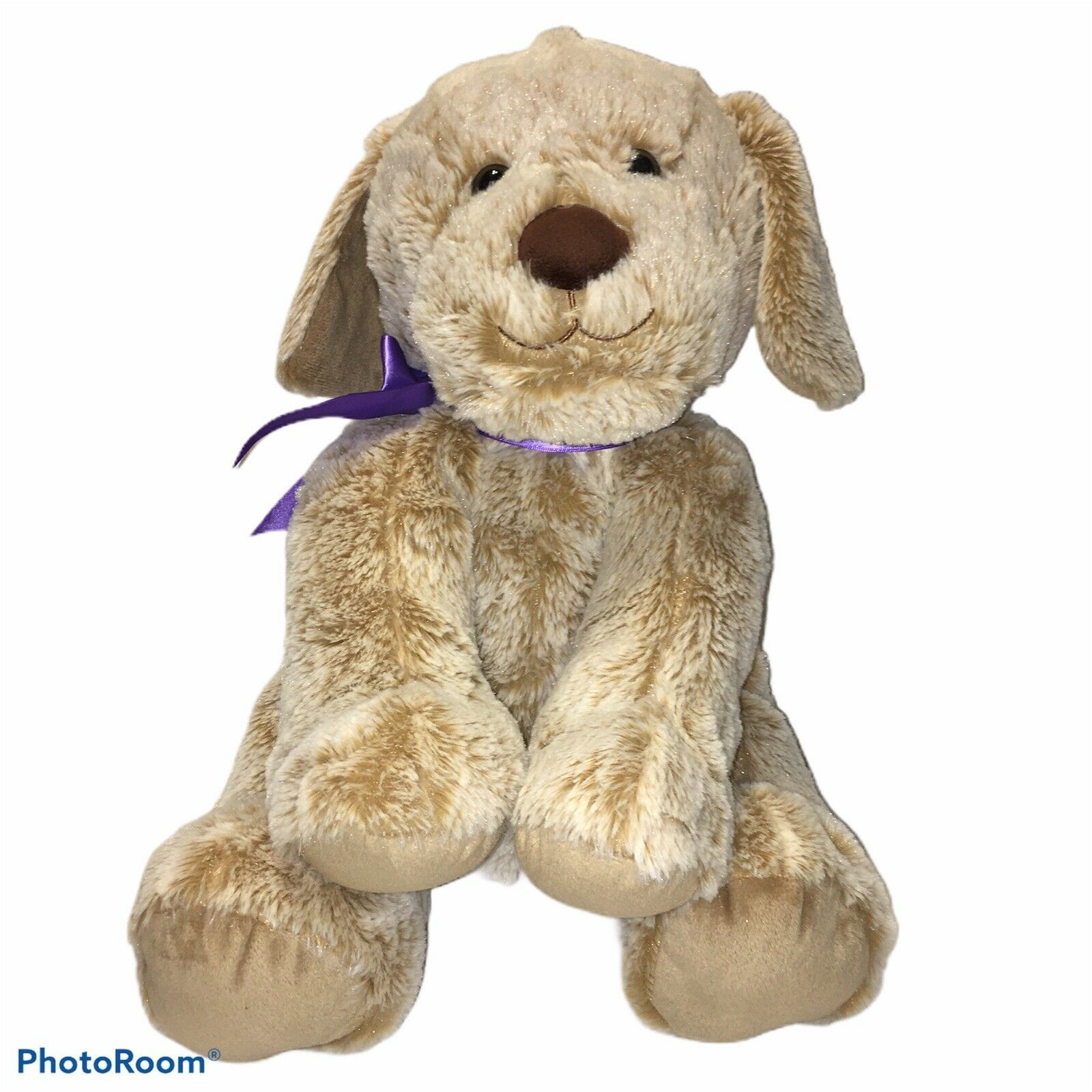 "Primary image for 13"" Animal Adventure Frosted Brown Puppy Dog Plush Purple Satin Bow Stuffed 2018"