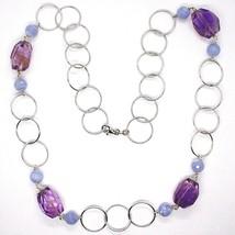 Halskette Silber 925, Fluorit Oval Facettiert Violet, Chalcedon, 70 CM image 2