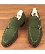 Handmade Men's Green Suede Double Monk Dress/Formal Shoes - $139.99+