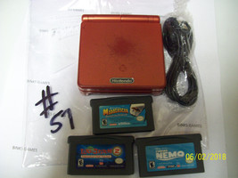 Nintendo GameBoy Advance SP Flame Red WITH CHARGER and GAMES #57  - $52.65