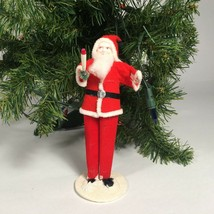 Christmas Santa putz decoration Vtg cardboard felt chenille Mid Century ... - $47.93