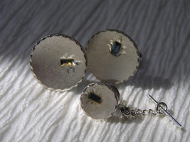 Vintage Slightly Dished Brushed Silvertone w Emerald Blue Rhinestone Cuf... - $4.49