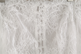 White Bridal Lace Top-Off Shoulder Crop Sleeve Fitted Lace Shirt-Plus Size,White image 6