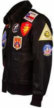 Tom Cruise Top Gun Maverick Fur Collar Aviator Pilot Bomber Brown Leather Jacket image 3