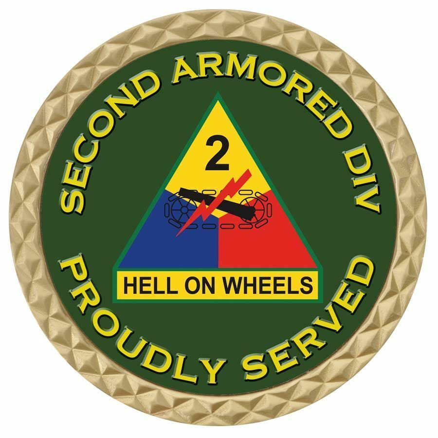 """ARMY 2ND SECOND ARMORED DIVISION HELL ON WHEELS MILITARY 1.75""""  CHALLENGE COIN"""