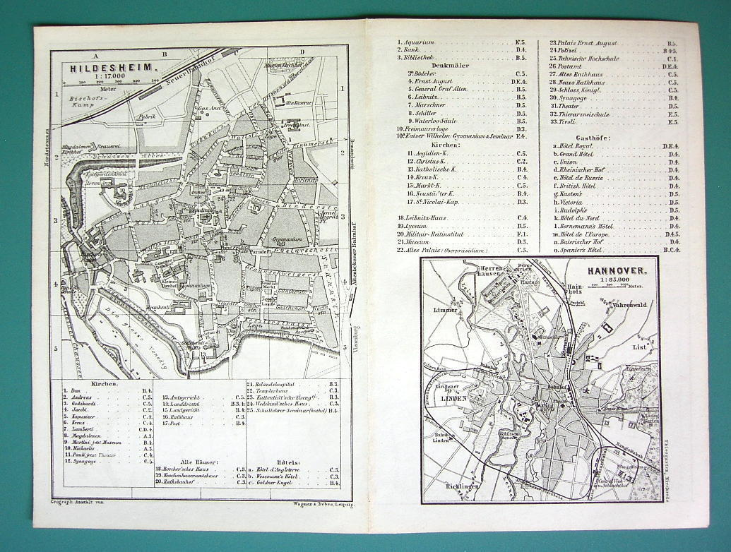 1884 MAP Baedeker - GERMANY Hannover & Hildesheim City Plan
