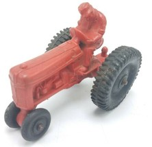 "Vintage Auburn Rubber Co 4"" Toy Tractor Red W/ Black Wheels - $19.95"