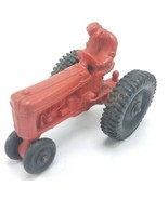 """Vintage Auburn Rubber Co 4"""" Toy Tractor Red W/ Black Wheels - $19.95"""