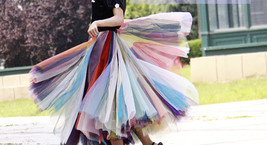 Rainbow Pleated Skirt Womens Rainbow Stripe Skirt Tulle Maxi Skirt Outfit image 4