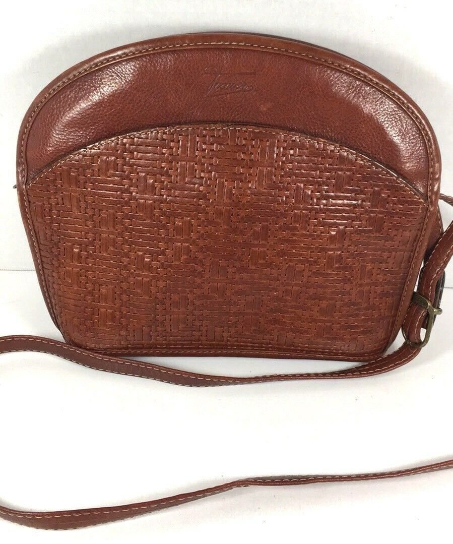 Texier Vintage Small Brown Leather Crossbody Shoulder Bag