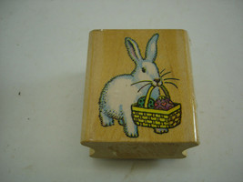 Bunny Basket 1988 Wooden Rubber Stamp All Night Media 598E Easter - $9.47