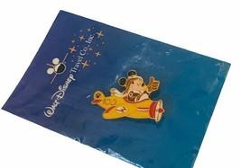 Walt Disney Pin Mickey Mouse pilot airplane 100 years travel pinback button vtg - $28.98