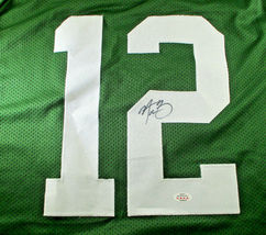 AARON RODGERS / AUTOGRAPHED GREEN BAY PACKERS GREEN CUSTOM FOOTBALL JERSEY / COA image 3