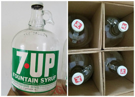 Vintage 7UP 4 one Gallon Fountain Syrup Jugs 1960s WITH ORIGINAL BOX MIN... - $95.00