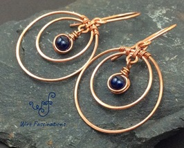 Handmade Lapis earrings: double copper hoops wire wrapped stone bead dangle - $30.00