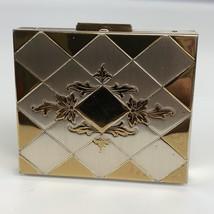 Vintage Elegant Metal Hinged Pill/ Trinket Box With mirror - $11.88