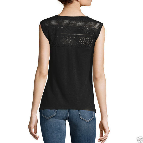 a.n.a Lace Raglan Cap-Sleeve Top Size XL New Black