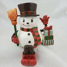 Frosty Snowman Christmas Stocking Holder Presents Resin Top Hat Broom Re... - $18.50