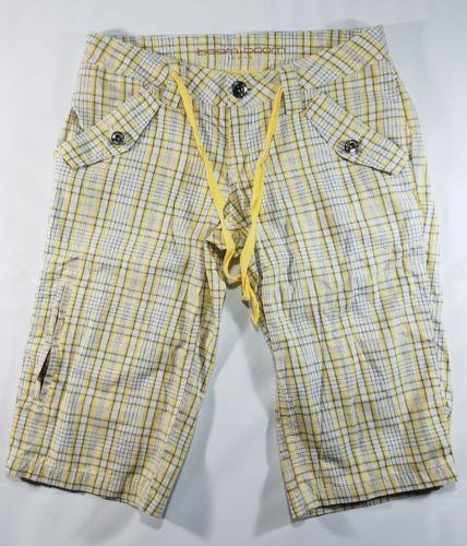 BOOM BOOM JEANS WOMEN'S YELLOW PLAID COTTON SIDE ZIPPER SHORTS 30 X 14 EUC
