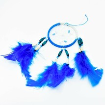 """Handcrafted Miniature 9"""" Blue White Dreamcatcher Plastic & Wood Beads Feathers  image 2"""